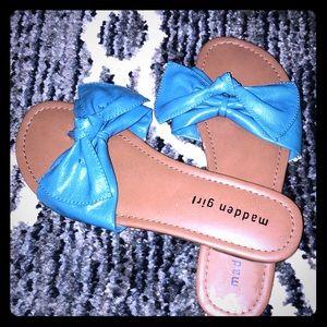 Madden Girl Blue Bow Tie Sandal Slip Ons